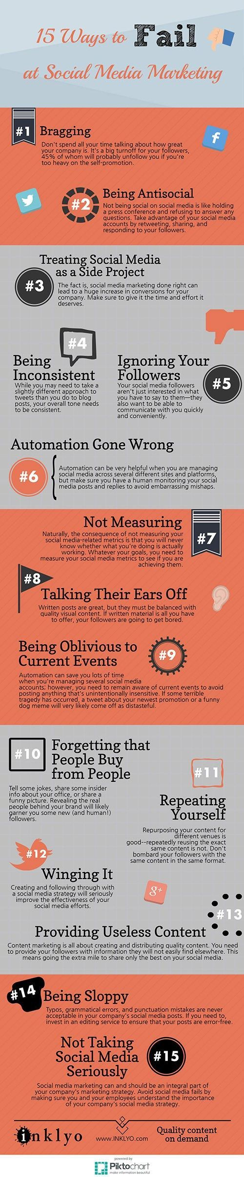 15 Ways To Fail At Social Media Marketing - If you are doing any of the things listed on this infographic, you are failing at social media marketing. If you do, then it's time for a change! - #infographic