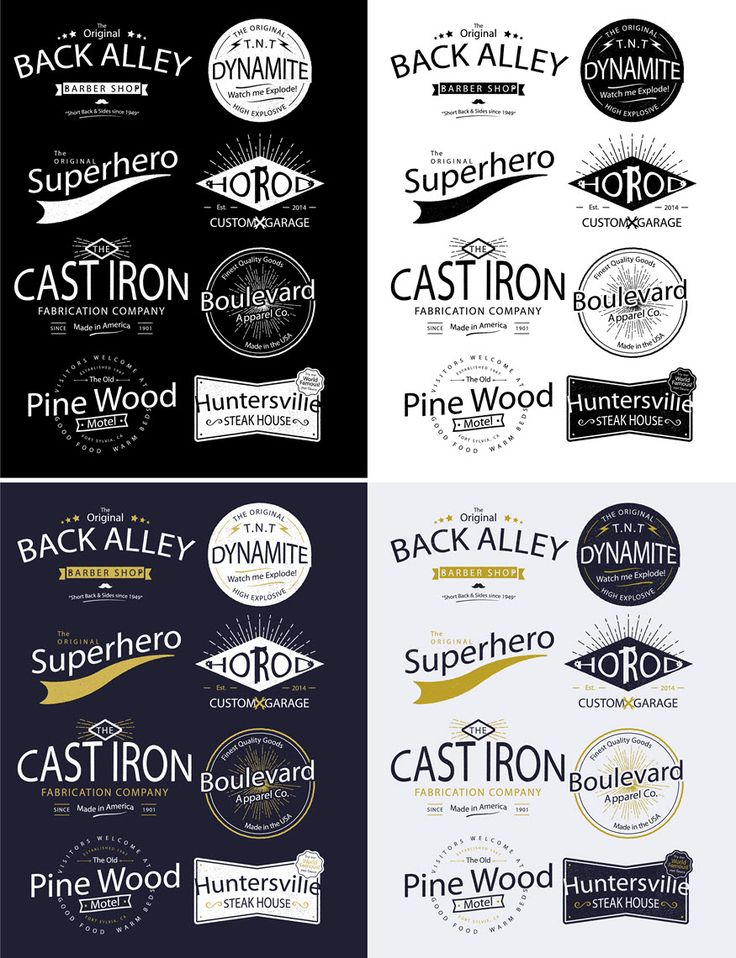 This pack of vintage logo designs contains 8 vector layouts that can be customised to contain your own wording.