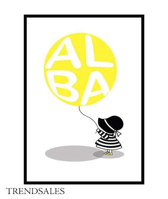 Eget Design - Grafisk illustration, billede, plakat, poster. Pige med ballon med navn i