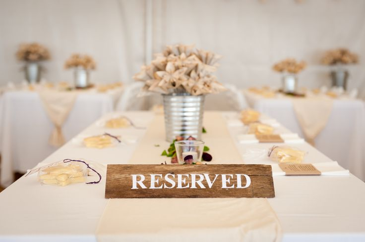 Homemade reserved sign for guest tables