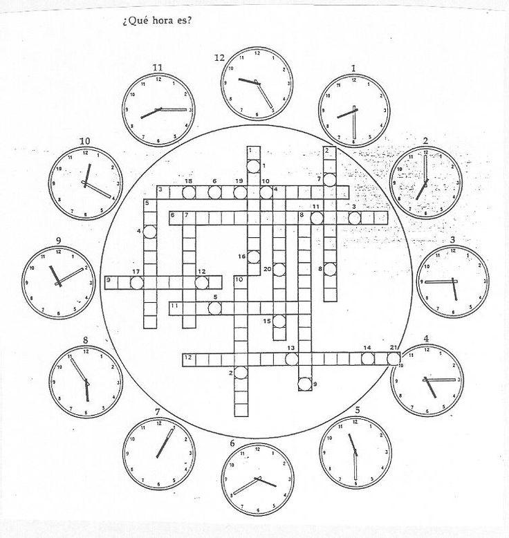 "Crucigrama ""¿Qué hora es?"" http://web.grinnell.edu/"
