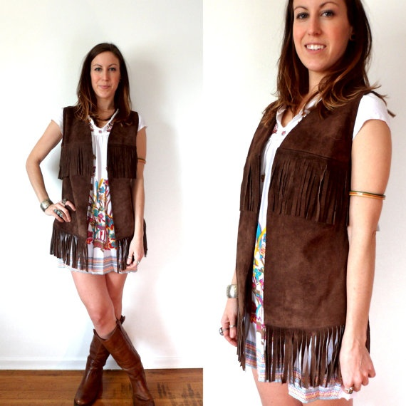 Vintage Brown Leather Suede Fringe Hippie Vest by TheVelvetMoon, $40.00