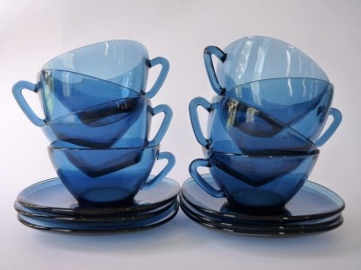 Vintage Blue Vereco Set of 8 Cups and Saucers  by:-FoxandThomas