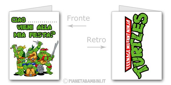 Biglietti delle Tartarughe Ninja da stampare gratis n.3