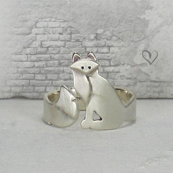 Volpe artica argento solido avvolgente anello
