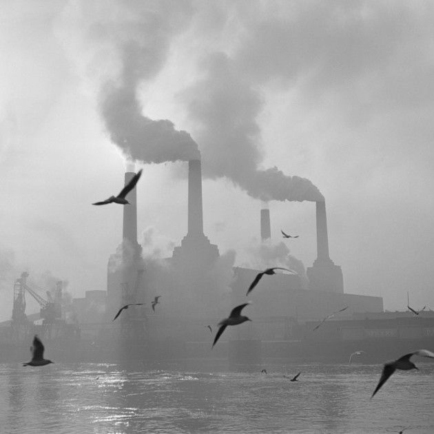 2nd February 1971:  Seagulls drift above the waters of the Thames while in the background, the billowing chimneys of Battersea Power Station fill the sky.  (Photo by Central Press/Getty Images)