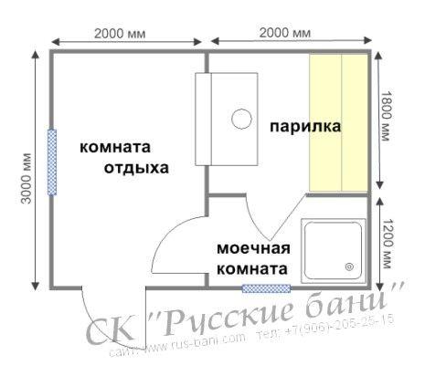 план бани 3х4