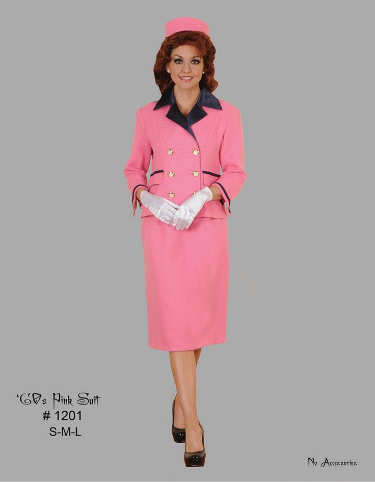 1960's Pink Suit Jackie Kennedy Onassis Costume #T1201 Click the image to go to our website for descriptions, prices and availability. All costumes are for sale or rent unless otherwise noted. We ship worldwide, Monday through Saturday.