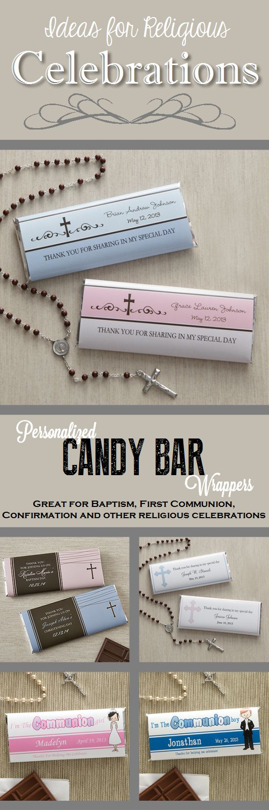 These personalized candy bar wrappers are great for baptism, first communion, confirmation and more religious celebrations. This site has tons of great religious gifts, too!