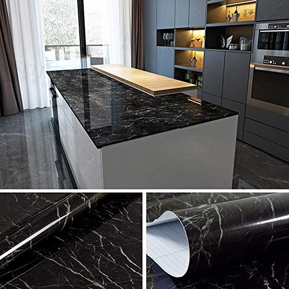 Jazz Black Marble Contact Paper For Countertops Self Adhesive