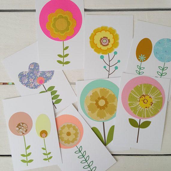Retro bloemen ansichtkaarten van byJoselien op Etsy