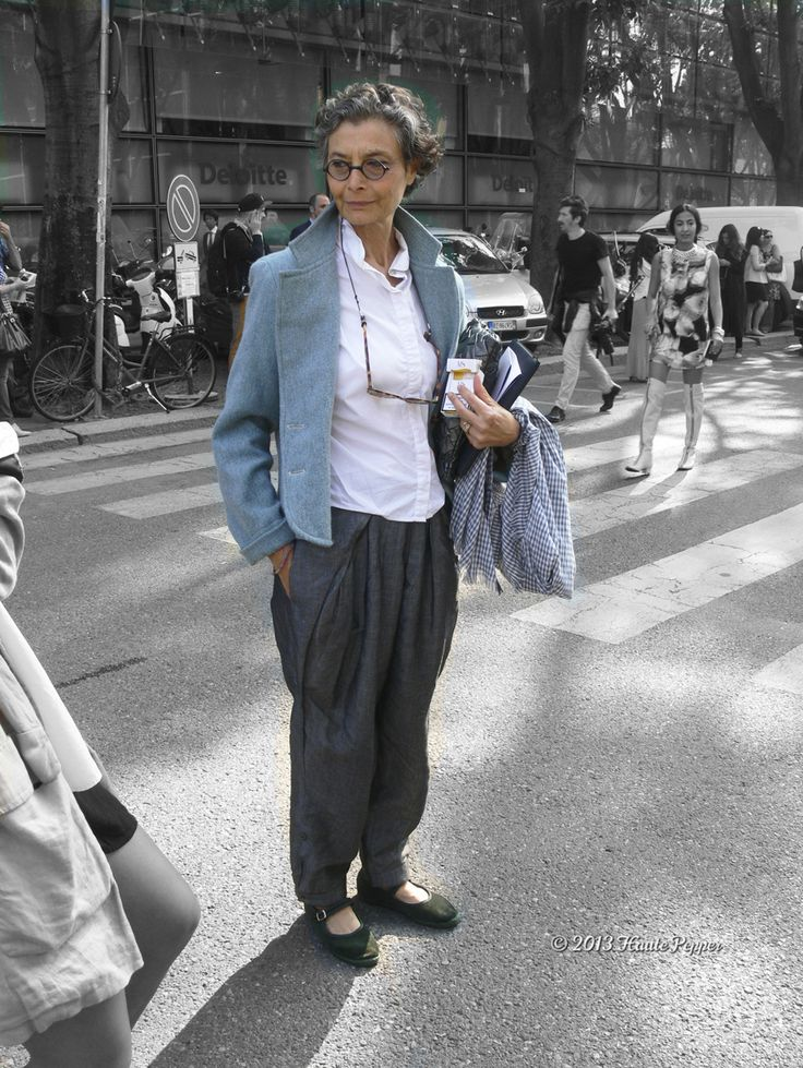 Milan Fashion Week ss 2014 woman, outside Armani, Renata Molho, Italian journalist - october 2013