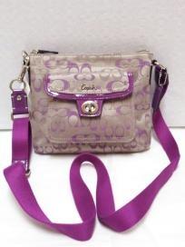 FREE SHIP - NWT! 100% AUTH COACH Signature Penelope Pocket Swingpack Khaki/Rose Bag F45670,45026