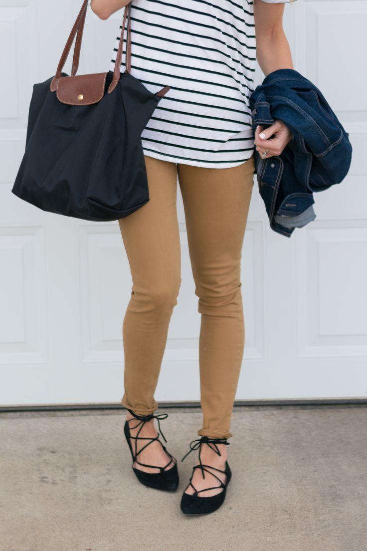Black lace up flats. Camel Pants Outfit.
