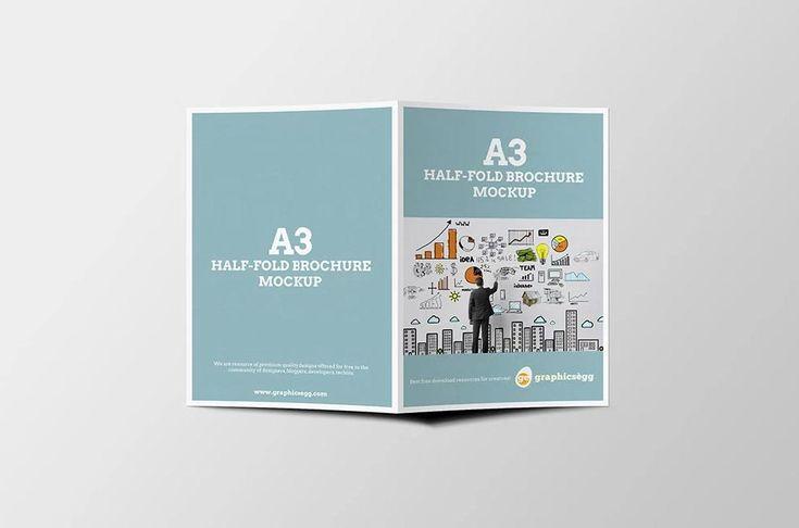 Three high-quality mockups of a folded brochure (format A3\/2 - gate fold brochure mockup