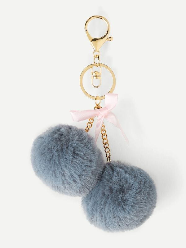 37d20173e1 Bow Detail Double Pom Pom Keychain -SheIn(Sheinside) | Make Your ...