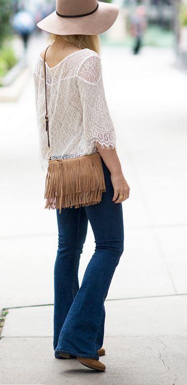 boho fall fashion, flared jeans, fringe bag, floppy wool hat
