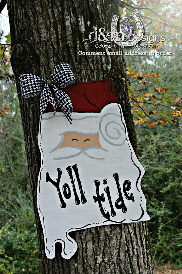 Alabama Santa Door Hanger from D&M Designs just $30.00 so order yours today.   www.facebook.com/dmdesignsms