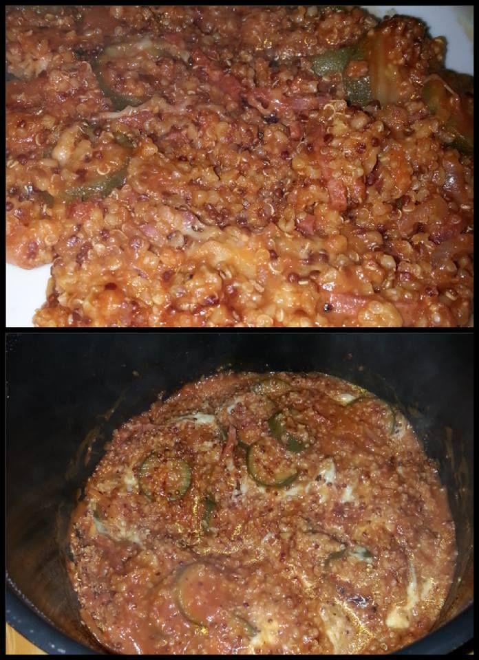 recette par l'appareil cookeo ingrédients 3 ou 4 courgettes (meme congelé) 1 barquette d'allumettes bacon ail, oignon, basilic 2 verres de mélange tipiak quinoa/boulgour 1 brique coulis de tomate 1 cube de bouillon de volaille 2 verres d'au 1 mozarella...