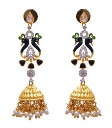 Buy Multi colour gold plated american diamond jhumkas jhumka online