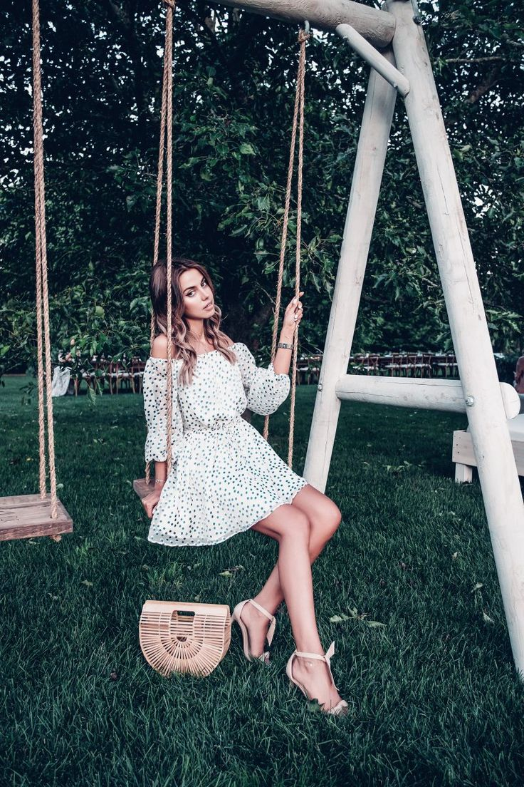 Blue and white polka dot summer off the shoulder dress #REVOLVEinthehamptons