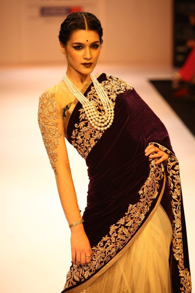 white and black saree. Vintage style