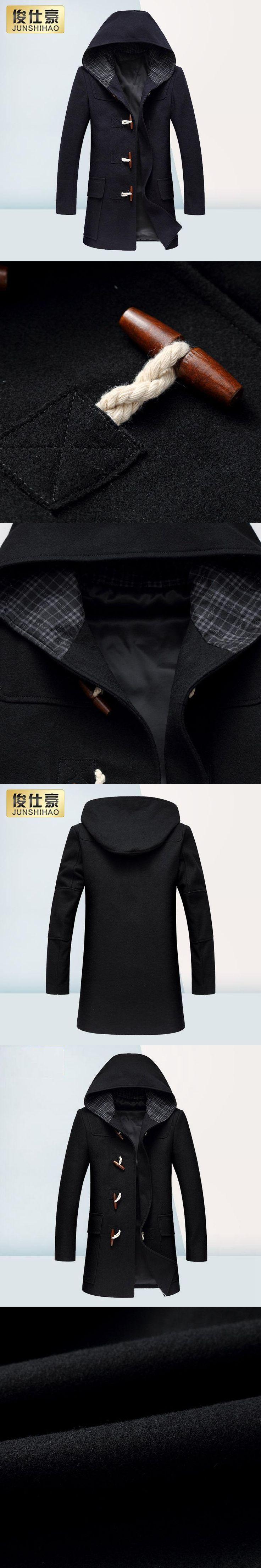 Winter Wool Coat Men Fashion Horn Button Designer Wool Jacket Men High Quality Hooded Mens Peacoat Size M-3XL
