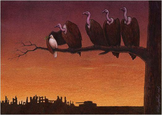 """배경은 폐허가 되어버린 마을과 군인들, 전차를 함께 보여주고 있다. 미국을 상징하는 대머리 독수리가,  """"평화""""를 상징하는 비둘기를 못 날아가도록 막고 있다."""