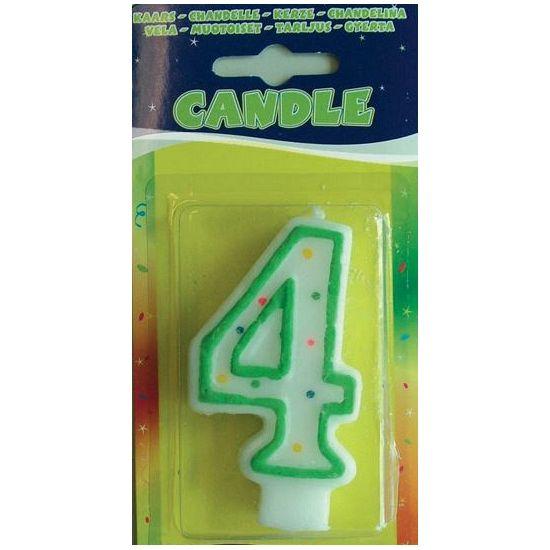 Verjaardags kaarsje 4 jaar. Gekleurde verjaardagskaars in de vorm van het getal 4. Voor de vierde verjaardag! U krijgt een willekeurige kleur. Formaat: ongeveer 7,5 x 4 cm.