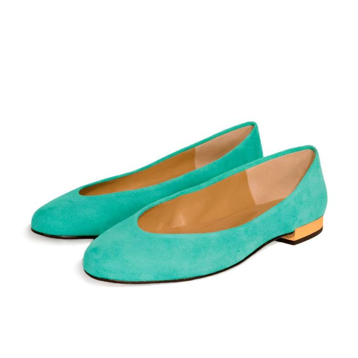 CLEO B classic 'Hip Hop' flats in a soft turquoise suede with gold heel detailing. #classic #collection #hiphop #pixel #fashion #designer #london #style #turquoise #gold
