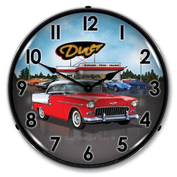 Antique Style 1955 Bel Air Diner Backlit Clock 129 99 Wall Clock Light Wall Clock Clock