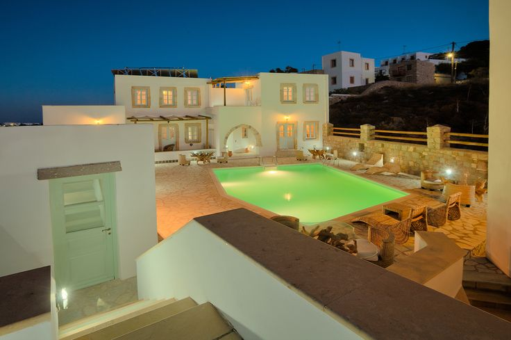AcquaBlu's picturesque yard by night #nightview of AcquaBlu #patmos #boutique #hotel #greece