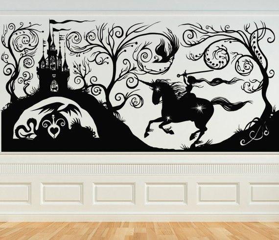 Fairytale, Princess, Castle, Steed, Horse - Decal, Sticker, Vinyl, Wall, Home, Nursery, Bedroom Decor
