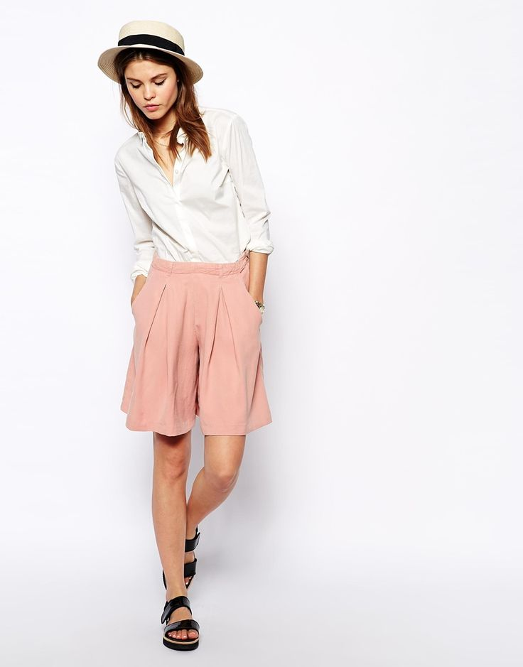 ASOS High Waisted Culotte Shorts in Distressed look