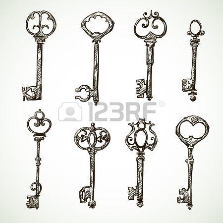 Set di chiavi d'epoca disegni stile Doodle