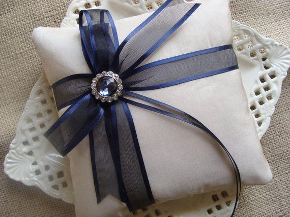 Wedding Ring Bearer Pillow - Navy Blue Organza Satin Edge Side Bow on Champagne Tafetta $25.00