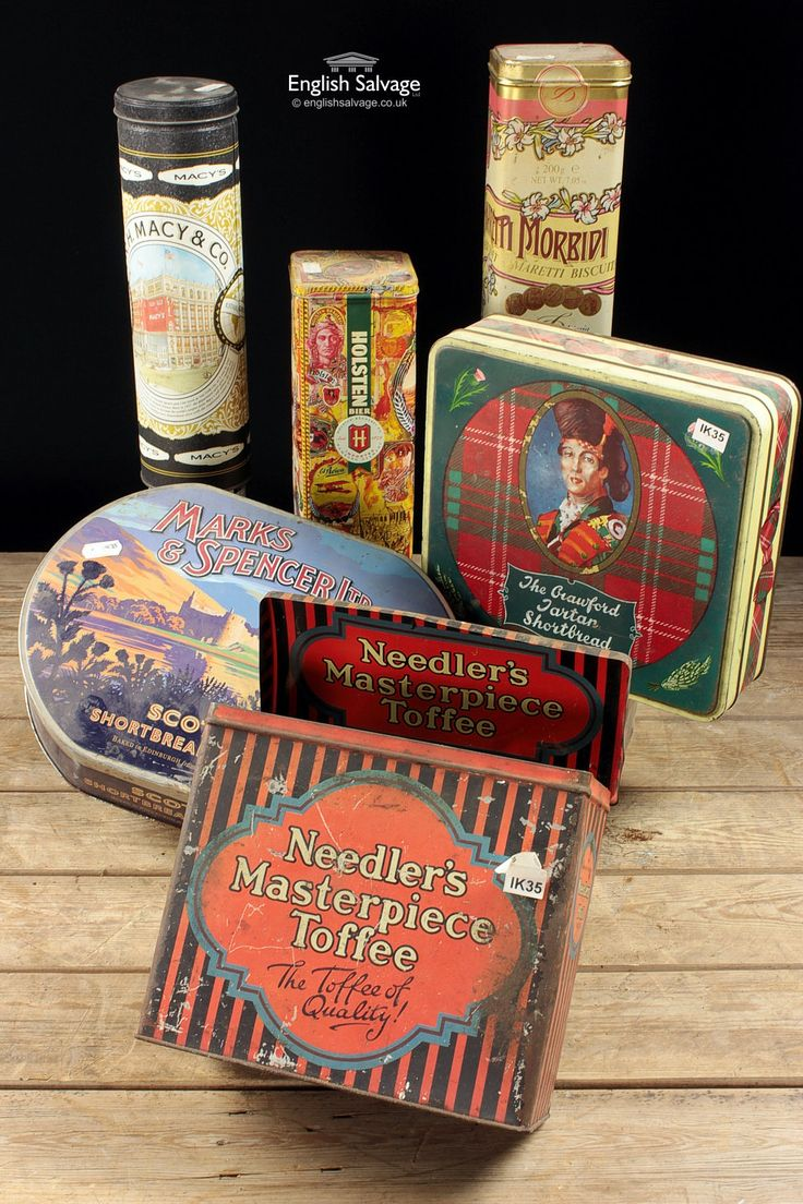 Various branded, such as Marks & Spencer, vintage tins.