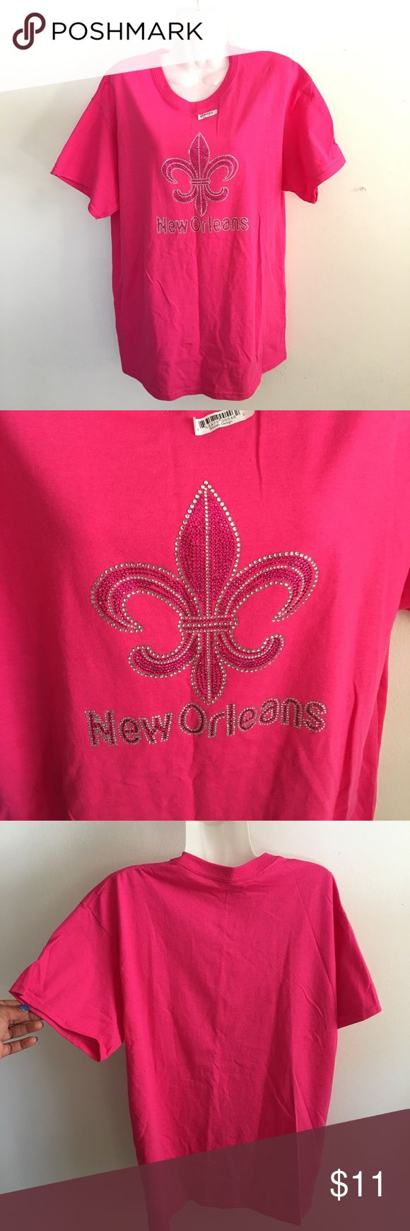 Hot Pink Rhinestoned New Orleans Saints New. Tshirt brand is Gildan. 100% Cotton Tops Tees - Short Sleeve