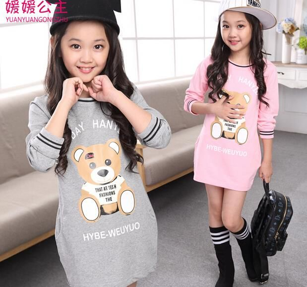 Cheap clothing capes, Buy Quality dress poodle directly from China clothing safety Suppliers: 5-14T Children\'s Clothes Long T-shirt for Teenagers Girls Clothing School Wear Bears Girls T-shirt Character Children\
