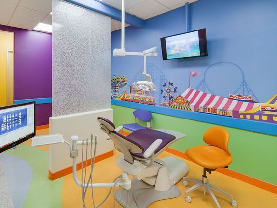 Love the colours in this cool dental practice #dentists #dentalkit #dentistchair…