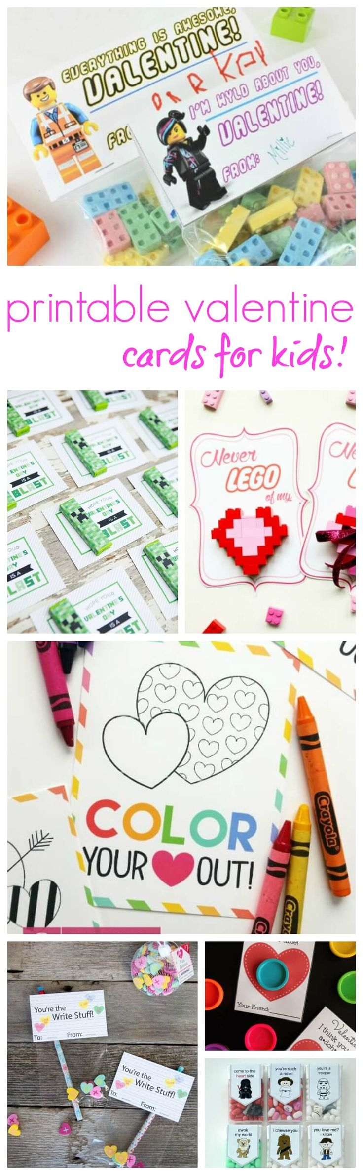 Printable Valentines Cards for Kids! Homemade Ideas to Save money on Class Valentine's for kids!