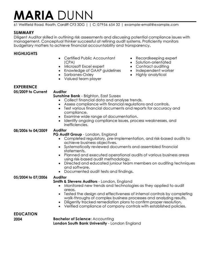 Best 25+ Examples of resume objectives ideas on Pinterest Good - it auditor sample resume