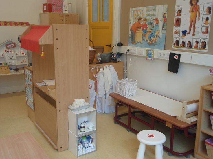 de themahoek, gymkast met papierroller van Ikea. krukje Ikea met kruis van rood plakband.