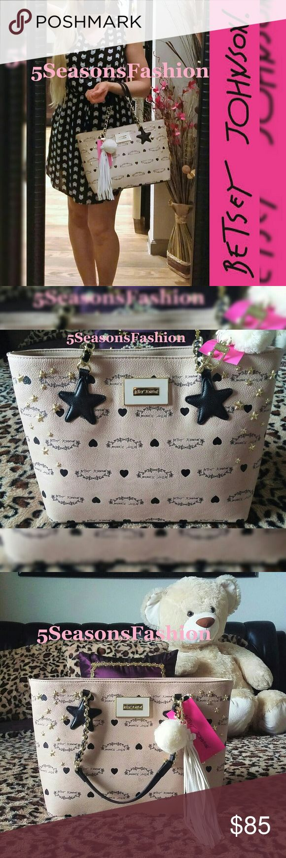 """💕BETSEY JOHNSON Tan Signature Logo Bag Star Studs BRAND NEW WITH TAGS! Beautifil tan handbag from Betsey Johnson. Features back signature logo detail with bkack and gold tobe studded stars ⭐💕💋 FAUX LEATHER. Medium size bag. Measures 14""""Lx9.5""""Hx4.5""""D. Chic and unique statement piece 😻 Betsey Johnson Bags Satchels"""