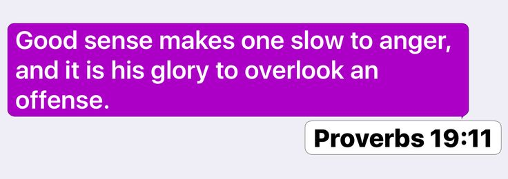 Proverbs 19:11: Good sense makes one slow to anger, and it is his glory to overlook an offense.