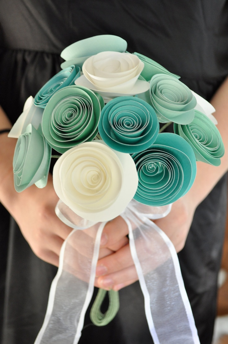 Bridal Bouquet Paper flower Bouquet Bridesmaid bouquet alternative bouquet. $46.00, via Etsy.