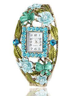 Γυναικεία Βοημία στυλ μπλε κρύσταλλο Χαλκού Κράμα χαλαζία βραχιόλι ρολόι
