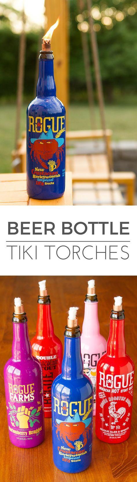 28 best diy bottle art images on pinterest jars craft for Diy beer bottle tiki torches
