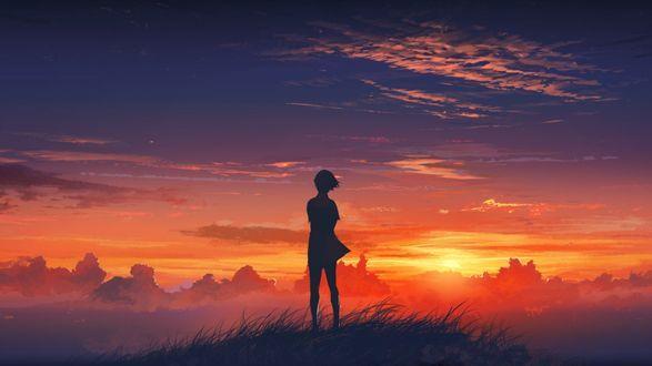 Обои Девушка смотрит на закат, работа художника Леонида Козиенко / Leonid Kozienko