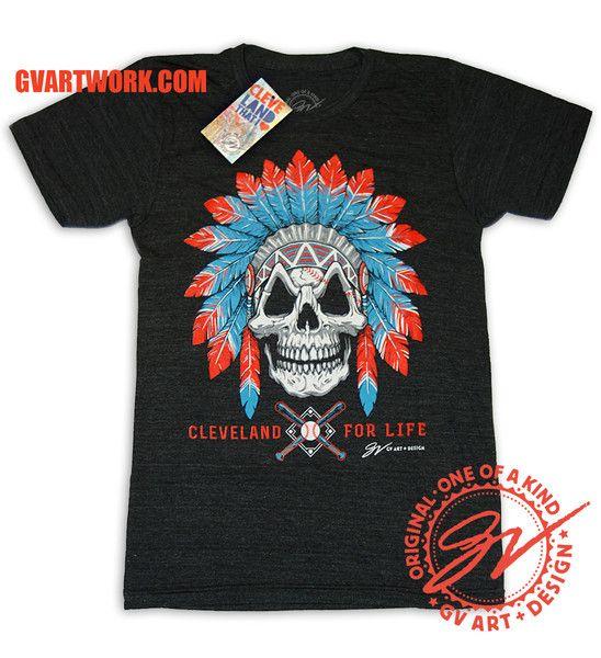 Cleveland Baseball For Life Skull T shirt